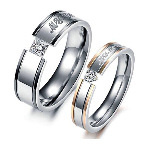 """jsfyou Jewelry """"My Love in acciaio inox zirconi Wedding Band Anniversario fidanzamento coppia di anelli, donne dimensione 9,5 & uomini dimensione 22, colore: Silver, cod. JSF621R"""