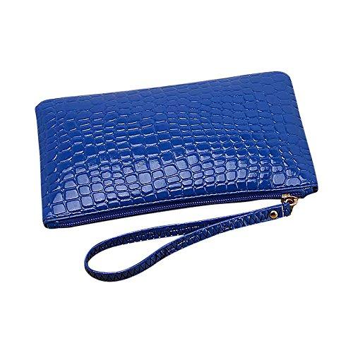 7dce1ffb7d Portafogli per donna con cerniera in pelle di grande capacità con cinturino  da polso Blu
