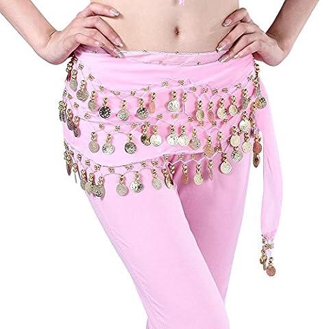 98gold Münzen Bauchtanz Hüfte Rock Schal Chiffon Dangling Wrap Taille Gürtel von amazing K M (Designer Bauchtanz Kostüme)