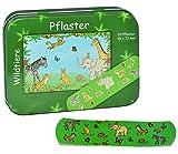 Unbekannt 20 Pflaster mit Wildtiere - Motiv in Metall Box - Pflasterbox Dose bunt Kinderpflaster Zootiere Elefant Giraffe Affe Tiger - für Kinder und Erwachsene Mädchen Jungen