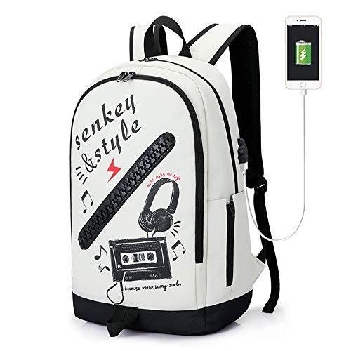 FPTB Wasserdichter Rucksack Schulrucksack USB ladeanschluss doppelschulter rucksäcke Junge Daypack passt 15,6 Zoll Computer Notebook, Oxford Tuch,White/Music