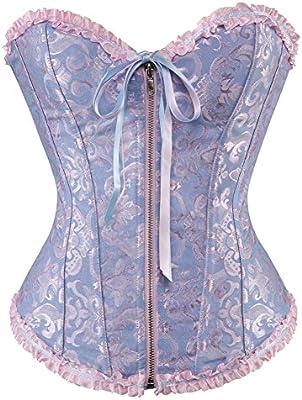 Czj-Innovation Bustier Top Lujoso Mujer Vestido de corsé deshuesado Lencería de encaje