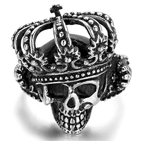 Stainless Steel Ring for Men, Skull Crown Ring Gothic Black Band 20*38MM Size Z 1/2 Epinki