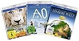 Die 3D-Family-Box - Boxset mit 3 3D-Superhits für die ganze Familie (Der weiße Löwe, AO - Der letzte Neandertaler, Unsere Welt) [3D Blu-ray]
