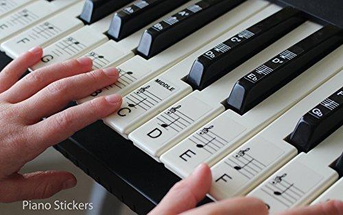 Keyboard- oder Klavieraufkleber bis zu 61Noten, für die schwarzen und weißen Tasten, laminiert, Psbw 61 (Piano Aufkleber Für Schlüssel)