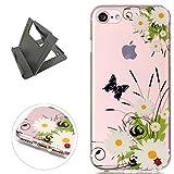 Keyye iPhone 7 Hülle, Transparent Weiche Silikon Schutzhüll Kratzfest Gummi Weich Kristal TPU Schutzhülle Skin Shell mit bunten Muster Design-schmetterling daisy