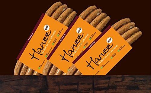 Hanzz Wurst rauchige Bratwurst – Grillwurst: 12 x Gourmet Wurst mit 81 % Fleischanteil ohne