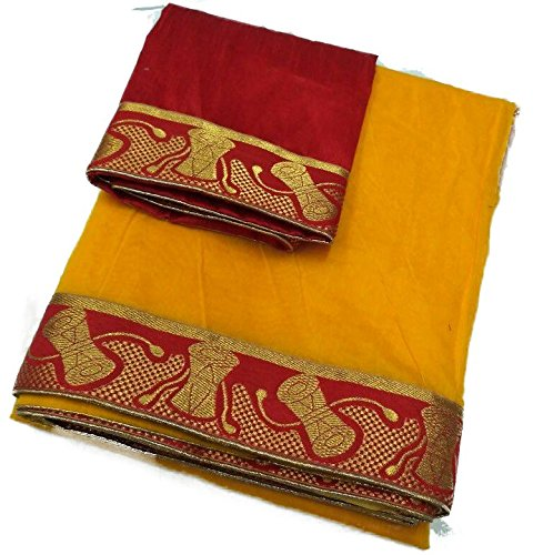 Generic Chanderi Saree With Blouse Piece (New_95_Yellow_Free Size)