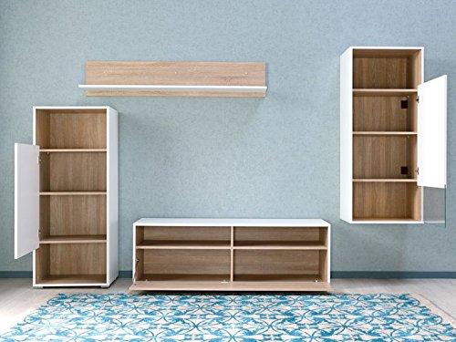 Wohnwand Weiß/Eiche Möbel Wohnzimmer Wohnwand Wohnzimmerschrank Regal Made in Germany