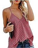 Ropa Mujer Camisola de Moda Verano Casual sin Manga Estampado de Lunares con Botones, Camisa, Camiseta, Chaleco y Blusa De 2019 Moda Casual Primavera y Verano para Mujeres S