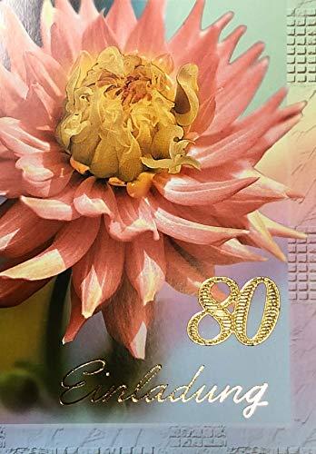 Einladungskarten 80. Geburtstag Frau Mann mit Innentext Motiv Blume 10 Klappkarten DIN A6 im Hochformat mit weißen Umschlägen im Set Geburtstagskarten Einladung 80 Geburtstag Mann Frau K170 (80. Geburtstag Einladungen)