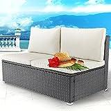 MIADOMODO Polyrattan Doppelsofa Gartenmöbel Loungesofa ohne Armlehnen in Grau