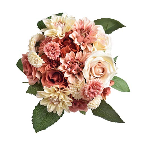 Famibay Rose Artificial Flowers 2 Bouquets Silk Flowers Bridal Bouquet for Wedding Party Home Decorationï¼??Vibrant coralï¼??