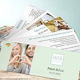 Hochzeitseinladungen gestalten, Wir heiraten! 200 Karten, Kartenfächer 210x80 inkl. weißer Umschläge, Grün