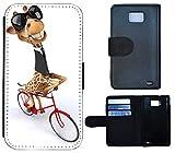 Schutz Hülle Flip Cover Handy Tasche Etui Case für (Samsung Galaxy S2 i9100, 1043 Giraffe Fahrrad Braun Weiß Schwarz Animiert)
