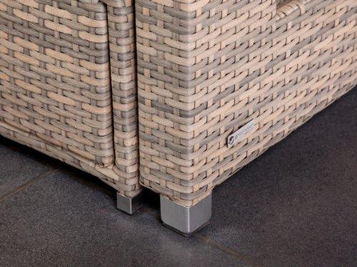 greemotion Bahia Sofa Twin 429106, Love Seat aus Stahl und Polyethylengeflecht, die Rückenlehne ist stufenlos verstellbar, inkl. 8 Nacken- und Sitzkissen, mit Stauraum für die Kissen im Fußteil, die Liege hat 2 Ablagetablets für Getränke, die Maße betragen ca. 121 x 86 x 99 cm - 4