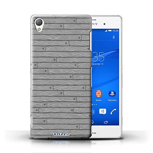Kobalt® Imprimé Etui / Coque pour Sony Xperia Z3 / Rouge conception / Série Motif Bois Gris