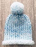 Handmade Blue/White Marble Effect Knitted Bobble PomPom Baby Hat Size Premature to 6 months
