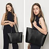 S-ZONE Womens Soft Genuine Leather Tote Handle Shoulder Bag Fit 14 in Laptop (Matte Black)