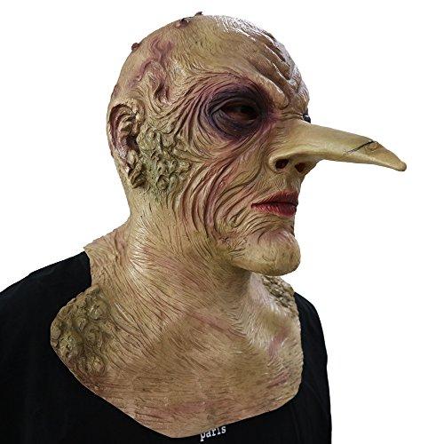 Grand Witch mit riesiger Nase Maske - perfekt für Fasching, Karneval & Halloween - Kostüm für Erwachsene - Latex, Unisex Einheitsgröße ()