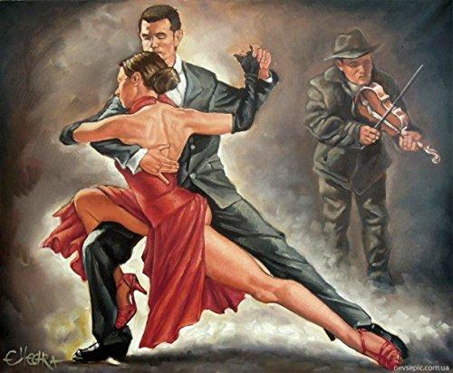 OBELLA Malen nach Zahlen Kits || violinen begleitung Tango Geige Begleitung Tango 50 x 40 cm || Malen nach Zahlen, DIGITAL Ölgemälde (Ohne (Kit Kuh Zubehör)