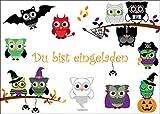 8-er Set gruselige Eulen-Einladungskarten (10646): Einladungen zur nächsten Grusel- oder Halloween-Party von EDITION COLIBRI - umweltfreundlich, da klimaneutral gedruckt