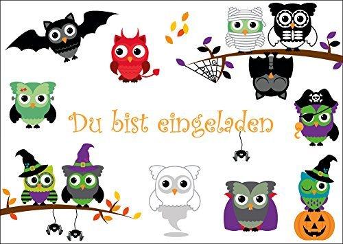 12-er Set gruselige Eulen-Einladungskarten (10646) zur Halloween- oder Gruselparty von EDITION COLIBRI © - umweltfreundlich, da klimaneutral gedruckt