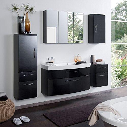 #Badmöbel Set Badezimmermöbel PARIS Komplett Set Waschbeckenschrank mit Waschtisch und beleuchtetem Spiegelschrank LED in Anthrazit Hochglanz Schwarz#