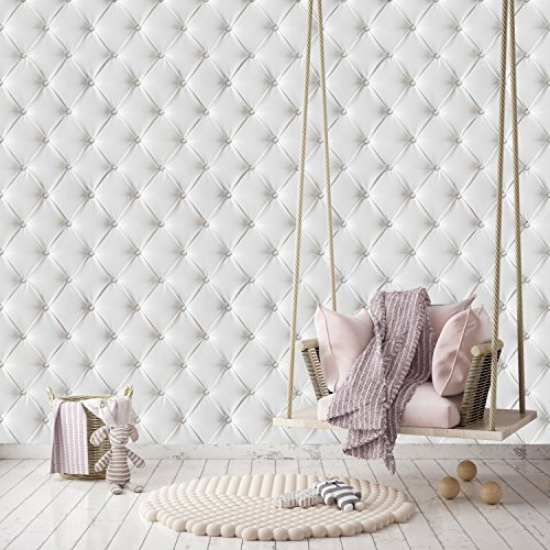 Price comparison product image murimage Photo Wallpaper White Leather 274 x 254 cm luxury optics 3D diamond glitter white quilted Wall Mural Art Glue Paste included livingdecoration