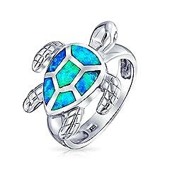 Idea Regalo - Bling Jewelry Sterling Silver sintetica opale blu a inserto mare nautico anello tartaruga