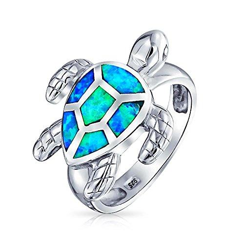 Tropischen Strand Blue Sea Sand Opal Inlay Schildkröte Turtle Ring Für Damen Für Jugendlich Sterling Silber Erstellt