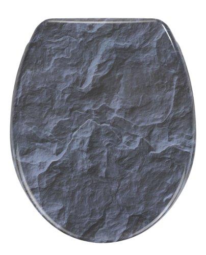 Wenko 21397100 WC-Sitz Slate Rock - mit Easy-Close Absenkautomatik, Kunststoff - Duroplast, 37.5 x 44.5 cm, Mehrfarbig
