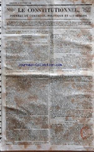 CONSTITUTIONNEL (LE) [No 359] du 25/12/1825 - ANGLETERRE - A LONDRES - LA FETE A LA BANQUE - LA REVOLUTION DE LA BOURSE - MM. STOCKTON - WHITEHAVEN ET SWANSEA DANEMARK - A COPENHAGUE - LES DESASTRE DE L'OURAGAN ROYAUME DES PAYS-BAS - A BRUXELLES - LA MORT DE L'EMPEREUR ALEXANDRE DESIGNATION DU GRAND-DUC NICOLAS PARIS - LES PROPRIETAIRES ET REDACTEURS DU CONSTITUTIONNEL - M. BRETON