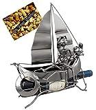Brubaker Portabottiglie Vino Barca a Vela con Gli Amanti - Deco-Oggetto in Metallo - con Biglietto di Auguri per Il Vino Presente