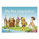 16 Einladungskarten zum Kindergeburtstag - Märchen, Ritter, Prinzessin - für Kinder, Jungen, Mädchen, Feier, Geburtstagseinladungen im Set