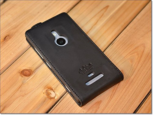 Urcover® Nokia Lumia 925 | Funda Carcasa Akira | Cuero en Negro Flip | Hecho a mano Case Cover Protección Smartphone Móvil Accesorio