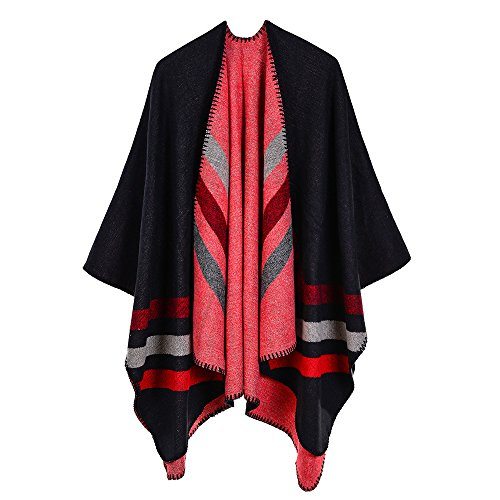 Trim Knit Cardigan (ZUZHEN Women es Shawl Golden Trim Knit Blanket Wrap Fringe Poncho Coat Cardigan,F)