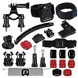 YAOkxin Outdoor-Sportkamera-Zubehör 24 in 1, kompatibel mit der GoPro 5 Generation 6 Generation, inklusive Fahrradrahmen, Helm, Armband, Helm-Tartimer, Rucksackclip