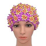 medifier pétalos de flores de natación para gorros estilo retro para las mujeres, morado