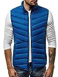 OZONEE Herren Weste Modern Täglichen Zip Steppweste Vest Ärmellos Jacke Sportswear Übergangs 777/215KA BLAU XL