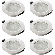 Sebson® 6X Foco empotrable Techo, para baño (IP44), Redondo, Blanco