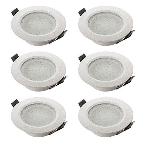 Sebson® 6X Foco empotrable Techo, para baño (IP44), Redondo, Blanco Mate, Aluminio,...