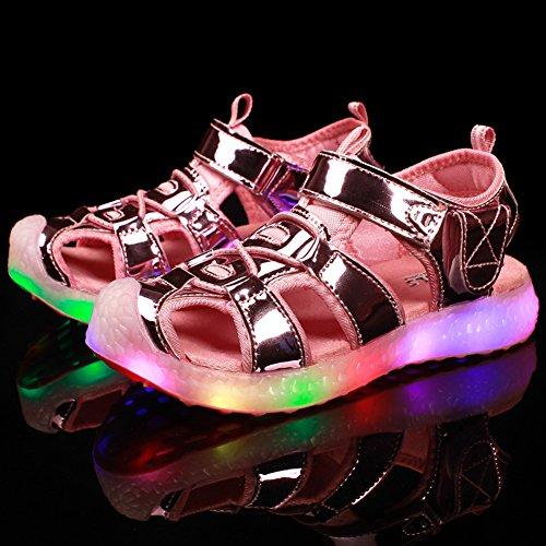 Z.SUO USB Chargement Chaussures LED Clignotante,Sandales Fille Garçon Mixte enfant Rose