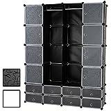 MIADOMODO Kunststoff DIY Kleiderschrank Regalsystem Garderobe mit Kleiderstange mit 18 Box Fächern in Schwarz