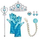 Princesa Disfraces con accesorios, URAQT Accesorios de Princesa disfraces, Princesa Vestir Accesorios include trenza / Tiara con Diamante / Magic Wand / Gloves /Necklace para Niña,Azul, 6PCS