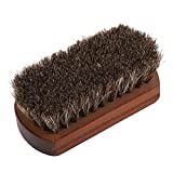 Shoes Brush Horse Hair Scrub Boots Polishing Buffing Cleaning Brush with Wooden Base