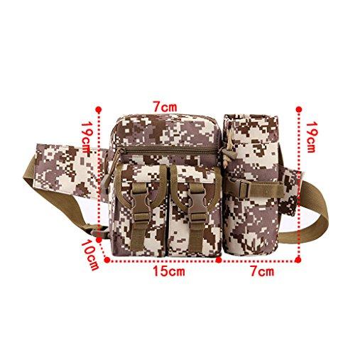 UEK Hüfttasche Multi-Function Gürteltasche Wasserabweisende Bauchtasche Flache Taille Tasche mit Flaschenhalter zum Sport und Reisen C