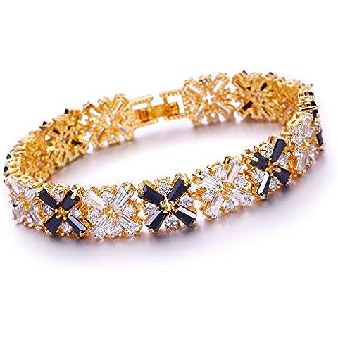 Aischalove Gioielli Union Jack Black White Zirconia della pietra preziosa del braccialetto di oro giallo 18K placcato