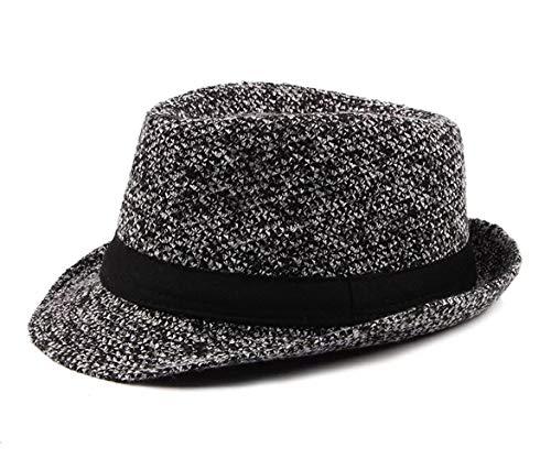 FENGFA Herren Panamahut Winterherbst Jazz Hut Top Hat Mode ältere Menschen England Topper Hüte (Schwarz) - Hüte Top Männer