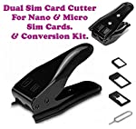 (Pack of Two) Dual 2 in 1 Micro Sim Cutter with Nano SIM Card SIM Adapter for iPhone 4/5/5S/6/ Samsung Galaxy S5/S4 Note 2/3/ Regular Sim (Black)